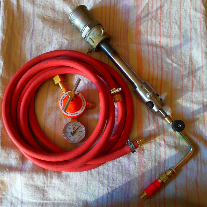 Рабочий комплект самодельной горелки для газового горна.