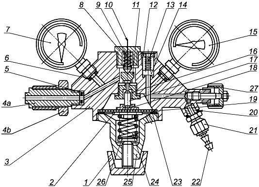 Схема типового редуктора без расходомера. Ист. http://docs.cntd.ru/document/gost-r-54791-2011.