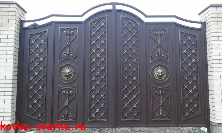 ворота сварные, кованые элементы