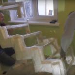 Монтаж поворотной лестницы из металла